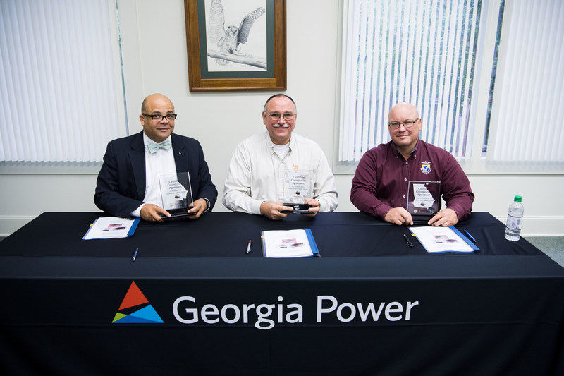 """Dr. Mark Berry, vice president of Environmental Affairs for Georgia Power; Rusty Garrison, DNR Wildlife Resources Division director;  Leopoldo """"Leo"""" Miranda, Assistant Regional Director for Ecological Services for U.S. Fish & Wildlife service"""