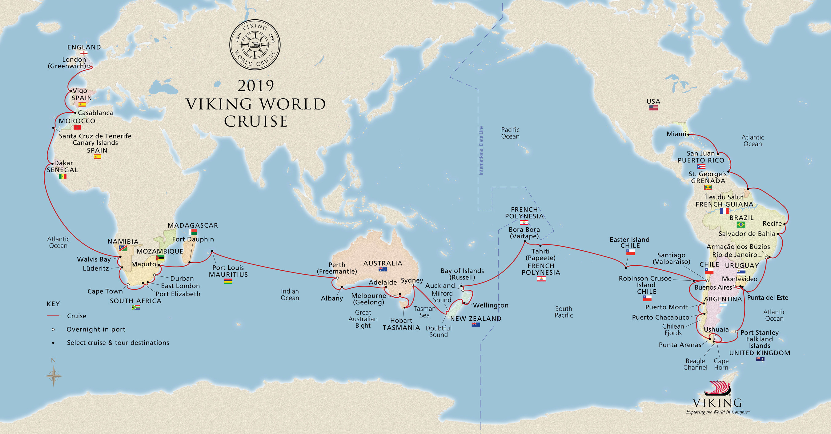 Ahead of its first-ever World Cruise scheduled for this winter, Viking Cruises announced Viking Sun will continue to sail the globe on its second World Cruise, departing January 2019. Aboard the soon-to-be delivered fourth vessel in Viking's award-winning ocean fleet, the new itinerary will span 128-days, five continents, 21 countries and 44 ports, with 10 port overnights. For more information visit www.vikingcruises.com.