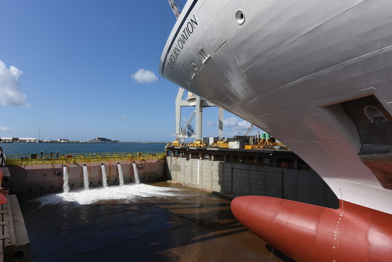 Seabourn celebrated a milestone in the construction of the new Seabourn Ovation, with the ship touching water for the first time today at the Fincantieri shipyard in Sestri, Italy