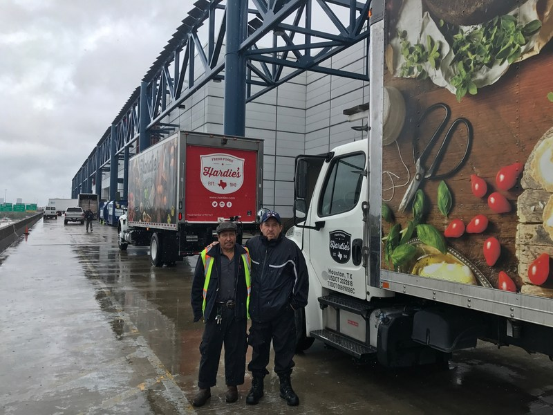 Hardie's Fresh Foods employees Juan Montano and Jorge Blanco are among the 29 employees who packed and drove fresh food to Houston, TX to support victims of Hurricane Harvey.