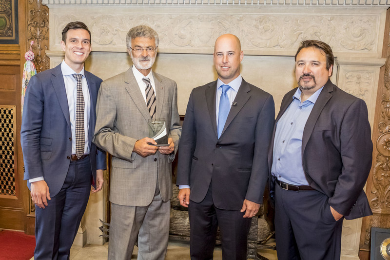 Left to right: Michael Walker, National Real Estate Manager, Mobilitie; Frank Jackson, Mayor, Cleveland, Ohio; Jason Caliento, Senior Vice President, Network Services, Mobilitie; Robert Knopf, Central Real Estate Manager, Mobilitie