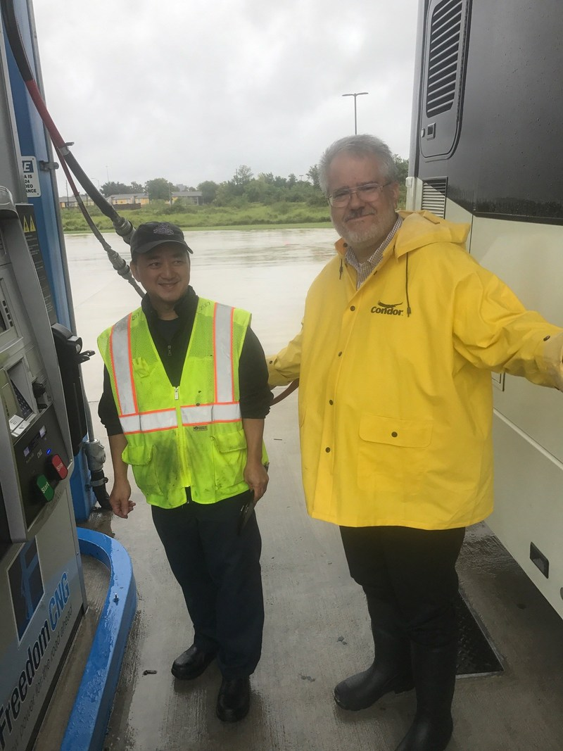 Jeffery Long Houston Metro Operations Manager filling CNG Bus during Harvey