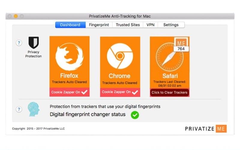 PrivatizeMe Anti-tracking App - Dashboard Screenshot