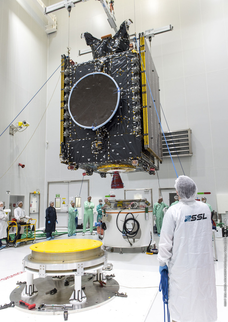 The SSL-built BSAT-4a satellite being prepared for launch. Image copyright:  ESA/CNES/Arianespace (CNW Group/SSL)