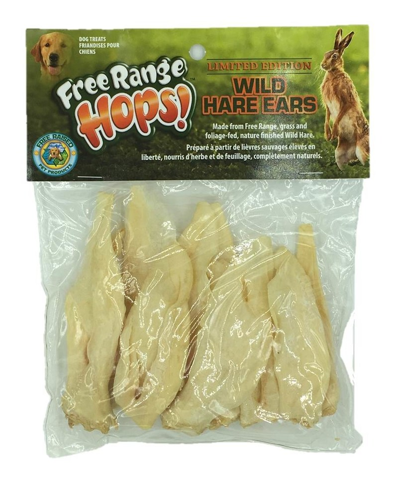 """Free Raised Pet Products is proud to offer its Limited Edition Wild Hare Ears. Wild Hare Ears are hypoallergenic, odor-free, gluten-free, preservative-free, and most importantly, chemical-free. That's right, a Non-GMO, All-Natural, Single Ingredient, Low Fat, High Protein treat that just might make your dog """"howl"""" like its ancestors."""
