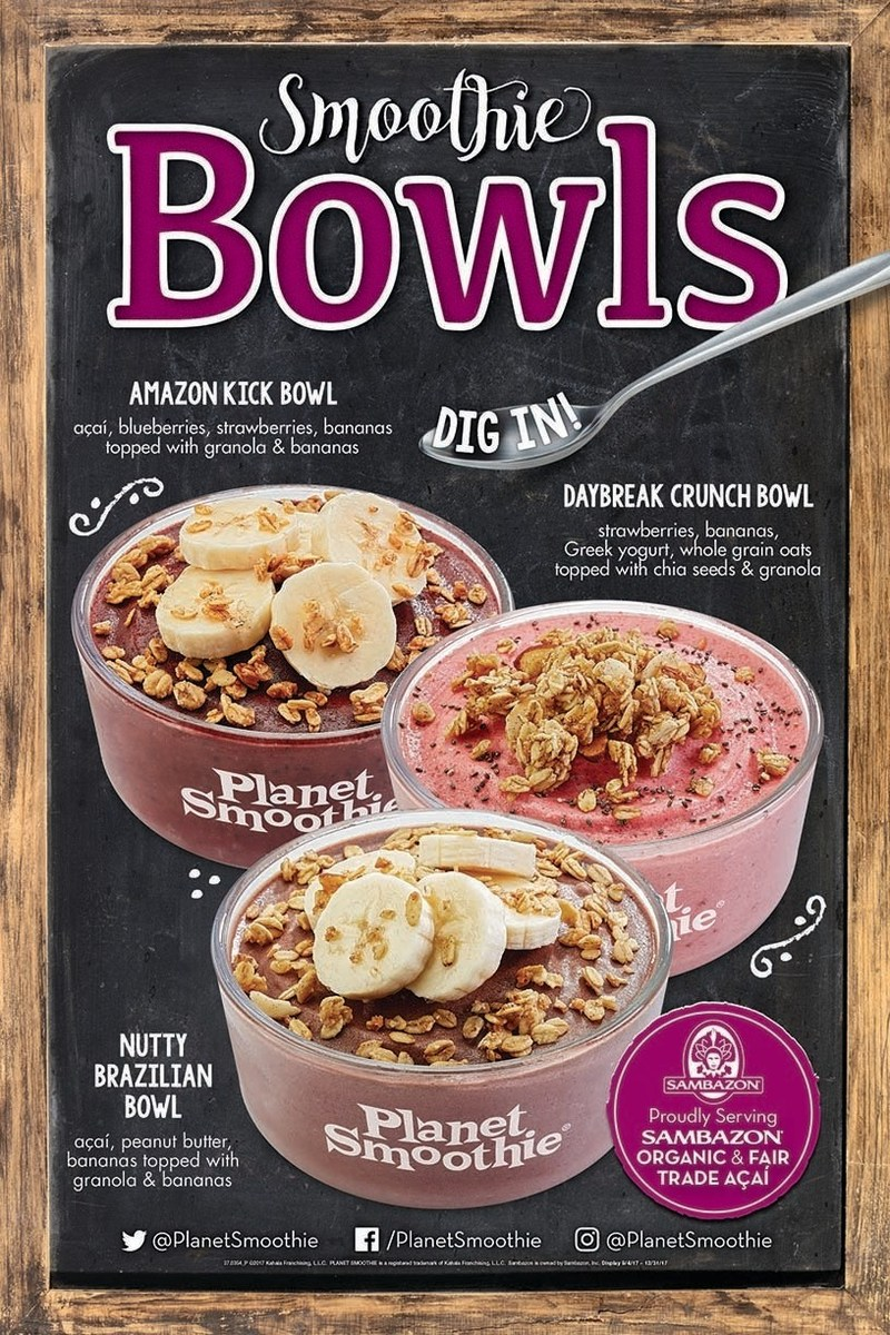 Planet Smoothie® rolls out three new Smoothie Bowls nationwide for a limited time.