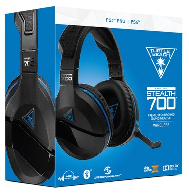 The Turtle Beach Stealth 700 is the latest premium wireless gaming headset for PlayStation®4, with DTS Headphone:X® 7.1 surround sound and active noise-cancellation, plus Bluetooth connectivity and a variety of additional features, all for an unprecedented MSRP of $149.95. (Available Sept. 24, 2017)