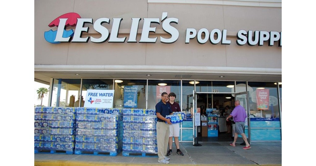 leslie 39 s swimming pool supplies offering free cases of water at select locations in houston
