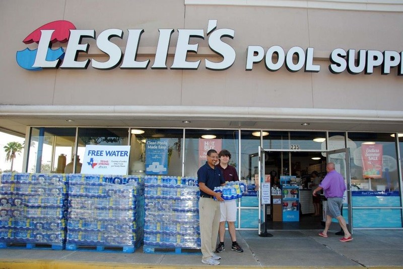 Leslie's Pool Supplies supports Houston's needs with free cases of water