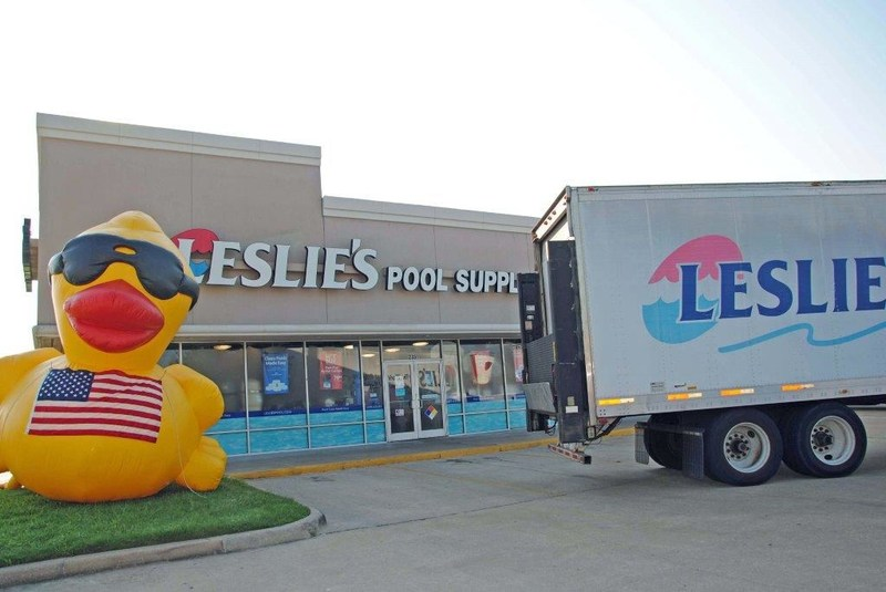 Leslie's Pool Supplies truck delivers cases of water to Leslie's Houston stores for Hurricane Harvey relief efforts.