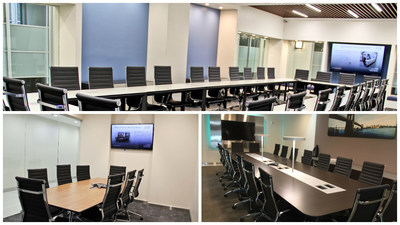 Jay Suites allows users to reserve hourly meeting rooms like these in real time.