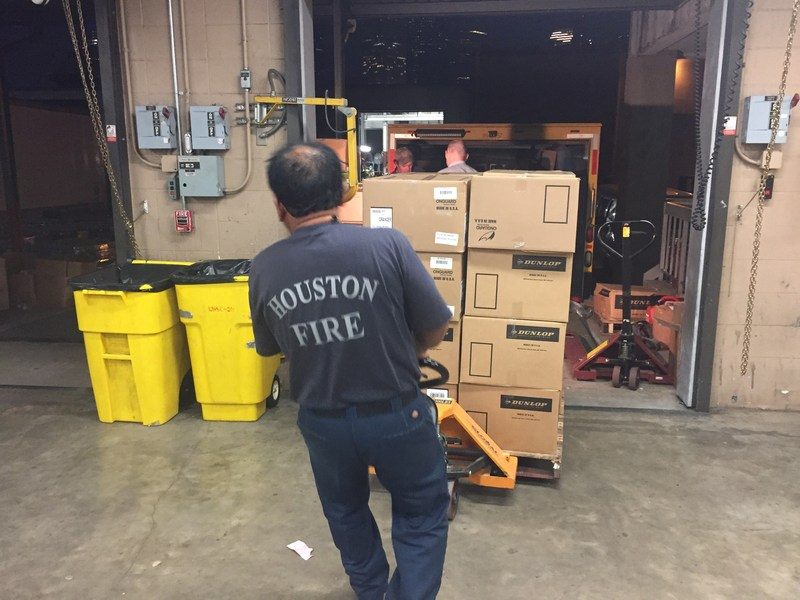 A truckload of personal protection equipment donated by LyondellBasell is delivered to the Houston Office of Emergency Management to assist in their search and recovery efforts.