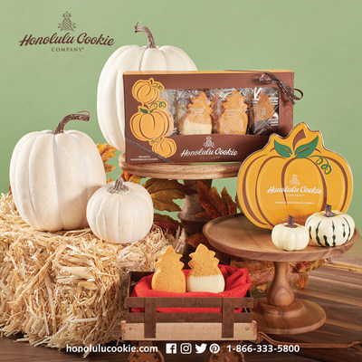 The Fall 2017 Collection from Honolulu Cookie Company includes the Fall Window Box and Pumpkin Tin.