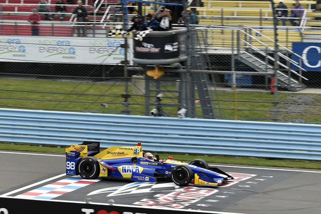 Alexander Rossi led a 1-2-3 Honda sweep of the victory podium Sunday at the INDYCAR Grand Prix at the Glen.  Scott Dixon and Ryan Hunter-Reay finished second and third for Honda, respectively, at Watkins Glen International Raceway.