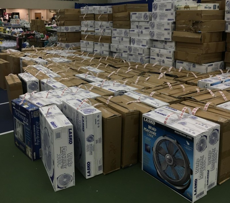 Lasko Products, the largest manufacturer of consumer fans, has packaged and shipped 1,000 fans to the Evelyn Rubenstein Jewish Community Center (ERJCC) in Houston to help in the aftermath of hurricane Harvey.  There has been a heightened demand specifically for fans to help mitigate the spread of mold as homes, businesses and organizations work to dry out. For more information on the ERJCC's efforts, visit https://www.erjcchouston.org/.