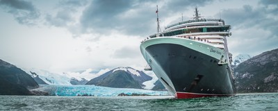 Cunard's Queen Victoria's passes the breathtaking Amalia Glacier as part of her 2017 Round the World Voyage. Please credit Adrian Nayler, The Ship's Photographer