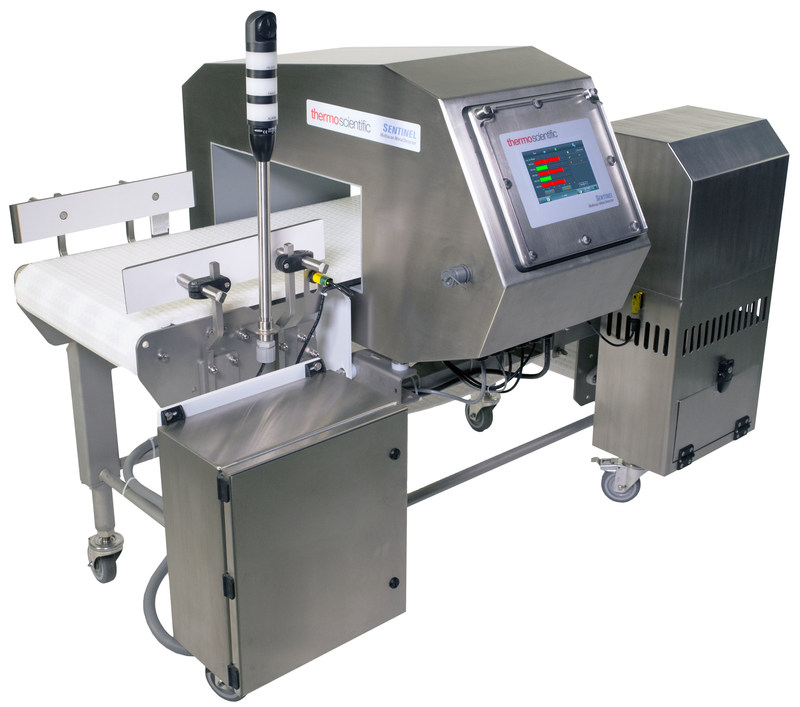 The Thermo Scientific Sentinel multiscan metal detector scans up to five frequencies for confident detection of metal contaminants in food and consumer goods.