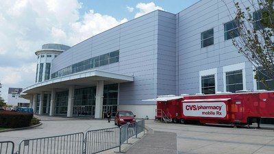 CVS Pharmacy Deploys Additional Pharmacy Resources to Impacted Communities Following Hurricane Harvey. Mobile Pharmacy Unit Ready to Assist Patients at NRG Center in Houston.