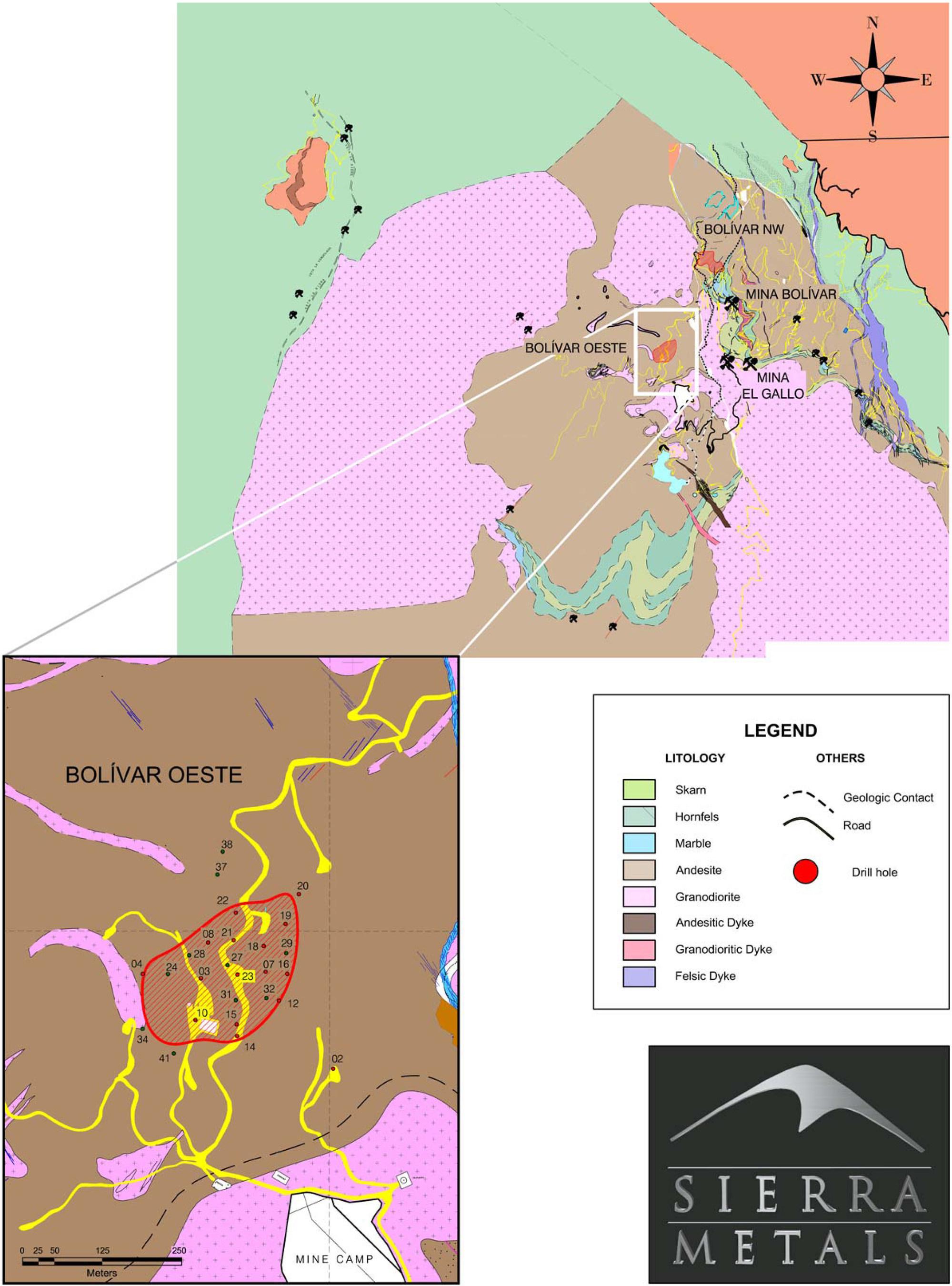 Figure 1. – Plan Map of Bolivar (CNW Group/Sierra Metals Inc.)