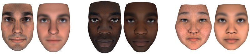 Examples of real (Left) and predicted (Right) faces from the Human Longevity study predicting face and other physical traits from whole genome sequencing data.