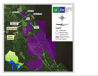 Map of LiCo's Teledyne property and surface and underground drilling zones (PRNewsfoto/LiCo Energy Metals Inc.)