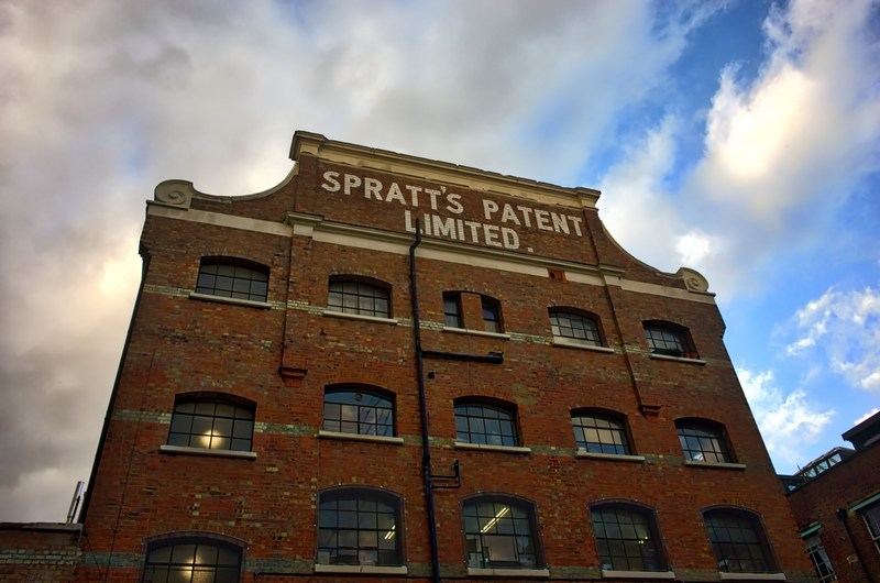 Spratt's biscuit factory located on Popular Street in the United Kingdom. Spratt's made their famous dog biscuit in this facility. This is a historical landmark and was considered to be the largest biscuit factory in the world. Credit photo courtesy of Fabien Egot