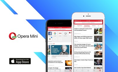 AI news engine lands on Opera Mini for iPhone (PRNewsfoto/Opera Software)