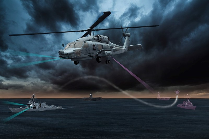 Lockheed Martin's Advanced Off-Board Electronic Warfare (AOEW) Active Mission Payload (AMP) AN/ALQ-248 system, a pod hosted on an MH-60R or MH-60S, will enhance the way the U.S. Navy detects and responds to anti-ship missile threats. Image courtesy Lockheed Martin.