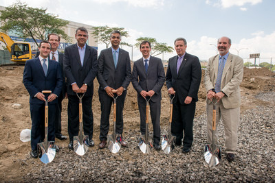 Printhouse groundbreaking, left to right: Phil Watkins, Principal from Megalith Capital Management; Dr. Samuel Taller, investor from East & Hudson, Anup Misra, co-founder and CEO of East & Hudson; Sam Sidhu, Principal and CEO from Megalith Capital Management; Noam Bramson, Mayor of New Rochelle; Charles B. Strome III, New Rochelle City Manager; and Barry Fertel, New Rochelle City Councilman.
