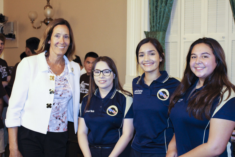 Jacqui Irwin, Chair of the Select Committee on Cybersecurity, California & Assemblymember for the 44th Assembly District. Next to Jacqui (L to R) Darlene Tarin, Leah Alvarez, Kassandra Morin