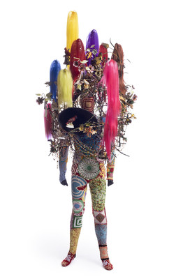 Nick Cave. Soundsuit, 2015.Mixed media, including synthetic hair, ceramic birds, strung beads, wire, metal, and mannequin, 108 x 43 x 40 in.  Courtesy of the artist and Jack Shainman Gallery, New York. © Nick Cave. Photo: James Prinz Photography