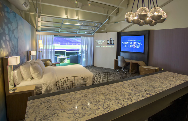 Courtyard by Marriott kicks off the season with its Super Bowl Sleepover Contest, giving one fan the once-in-a-lifetime opportunity to wake up on the field of Super Bowl LII. (PRNewsfoto/Marriott International, Inc.)