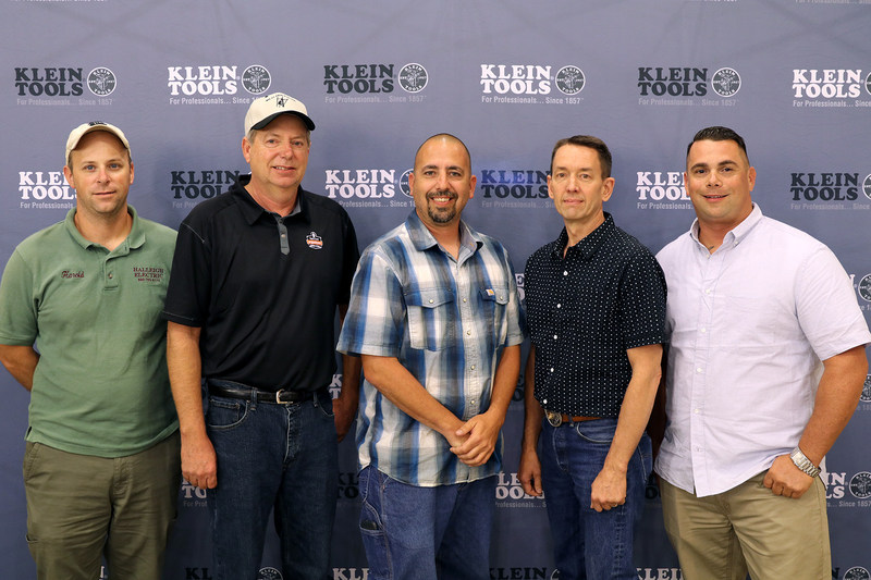 Klein Tools' 2017 Electrician of the Year Regional Winners met in Texas to celebrate being finalists in the national competition and tour Klein's manufacturing facilities. From left to right: Harold Melia (Region 6), Kevin Wick (Region 3), Jimmy Ferris (Region 2), Brent Heesacker (Region 1) and Nathan Guerrero (Region 4) [Not pictured: Luis Gonzalez (Region 5)]