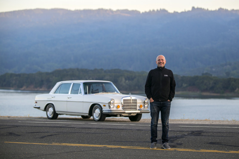 Turo CEO, Andre Haddad, with vintage Mercedes-Benz