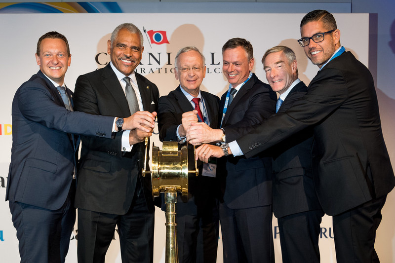 """Together, representatives gave the """"full steam ahead"""" signal for the keel laying of the first ship of the new LNG generation. From left to right: Felix Eichhorn, president of AIDA Cruises; Arnold Donald, president and CEO of Carnival Corporation; Bernard Meyer, CEO of Meyer Yards; Michael Thamm, CEO of Costa Group and Carnival Asia; David Dingle, chairman of Carnival UK; Neil Palomba, president of Costa Cruises."""