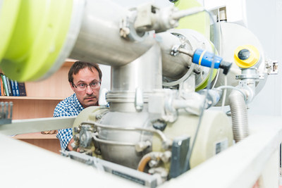 The author of the  research, Petr Lagov, in the operation  an ion accelerator. (PRNewsfoto/NUST MISIS)