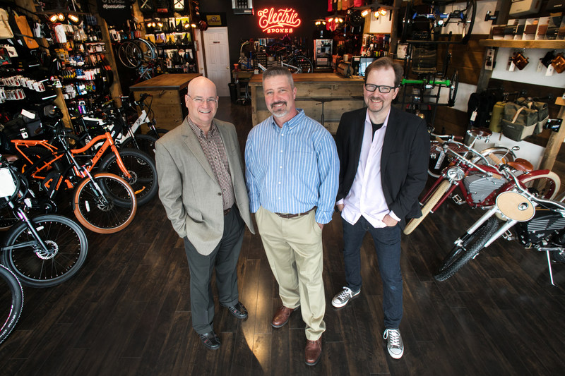Founding Partners of the new Voltaire Cycles' Franchise (left to right) Jamie Gilson, Mark Baraniak, Derek Mithaug