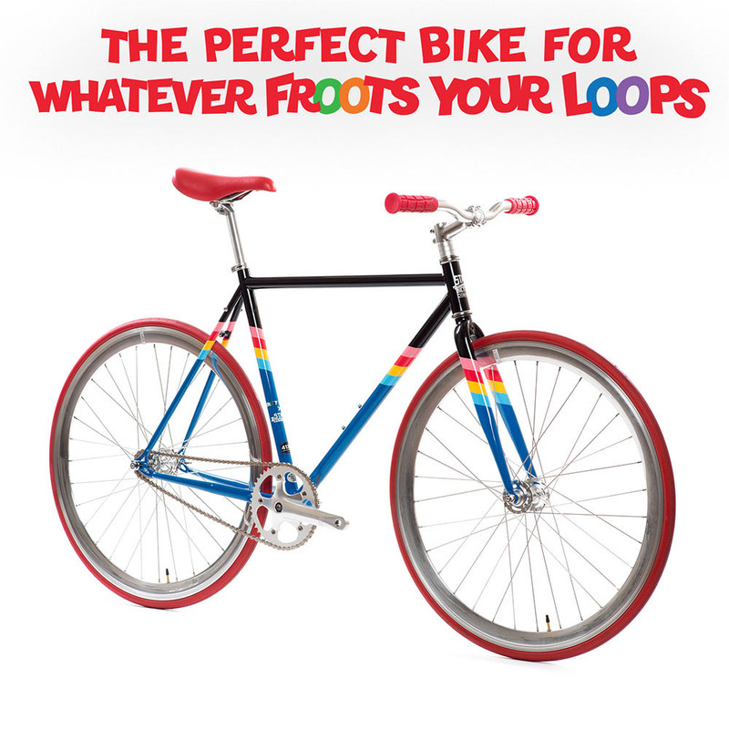 "Kellogg's® Froot Loops® has partnered with State Bicycle Co. to create a high-flying single-gear bike that can be customized to ""Whatever Froots Your Loops."""