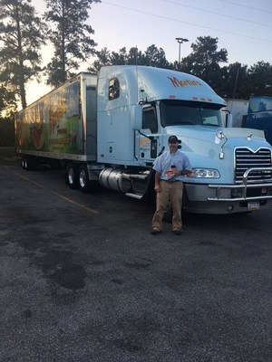 Dustin Martin, transportation manager (shown here) and Brian Ramer, director of MFPS Transport pulled out of Potato Roll Lane in Chambersburg with 18,000 packs of bread and rolls at 7:00 a.m. on Sunday morning, September 3, after a group of Martin's employees gathered to pray for Houston.