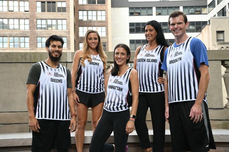 The 2017 Foot Locker Five Borough Challenge team (from left): Roger Mendoza (Queens), Katie Zottola (Bronx), Dorothy Carlow (Manhattan), Chre Genao (Staten Island), Peter O'Rourke (Brooklyn)