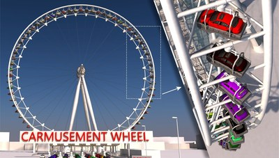 """CarmusementWheel. Conventional cars with passengers may soon be able to """"fly"""" on specially designed Ferris Wheels, different types of carousels, rollercoasters (CarmusementFlights), as well as ropeway systems (CableFlights). copyright:ROLLERCOASTERRESTAURANT® Vienna. (PRNewsfoto/ROLLERCOASTERRESTAURANT)"""