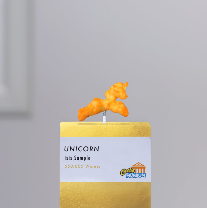 "Thousands of fans voted to name this year's winning shape, ""Unicorn"", the grand prize winner in the 2017 Cheetos Museum search for the most magnificent Cheetos shape."