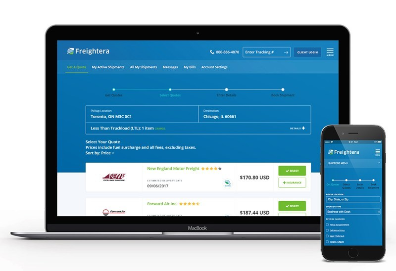 Screenshot showing freight quote results from Freightera 2017 redesign