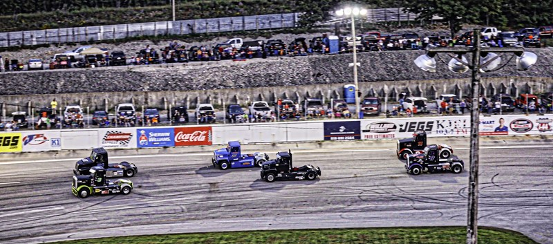 The Bandits fly past fans along the back straightaway at I-44 Speedway in Lebanon, Missouri, on Saturday, September 2nd.