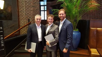 Dan Doney and John Hensel of Securrency with Dmitry Kaminskiy of Humaniq in New York to discuss their vision and partnership for the future of finance (PRNewsfoto/Humaniq)