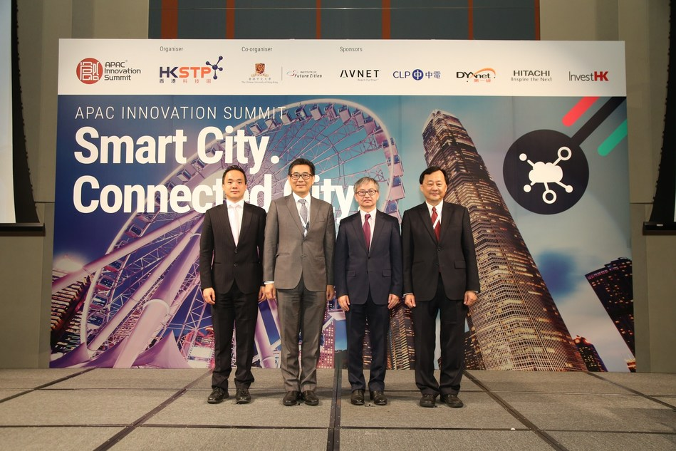 HKSTP stages APAC Innovation Summit 2017 -- Smart City. Connected City. (From left ) HKSTP Chief Technology Officer George Tee, Government Chief Information Officer, HKSAR Government Ir. Allen Yeung, Under Secretary for Innovation and Technology, HKSAR Government Dr David Chung Wai-keung, Provost and Wei Lun Professor of Computer Science and Engineering at the Chinese University of Hong Kong Professor Benjamin Wah. (PRNewsfoto/HKSTP)
