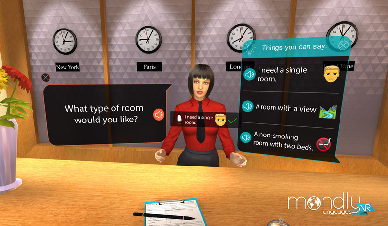 Practice conversations with virtual characters in 30 different languages by combining a voice chatbot, speech recognition, and VR technology.