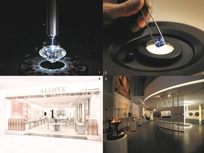 1. A Chow Tai Fook 'T MARK' diamond has an inscription that is virtually invisible to the naked eye; 2. A Gubelin Gem Lab gemmologist inspecting a sapphire; 3. One of Shenzhen Perfect Love Diamond's ALLOVE boutique; 4. Zhejiang Angeperle's Pearl Museum