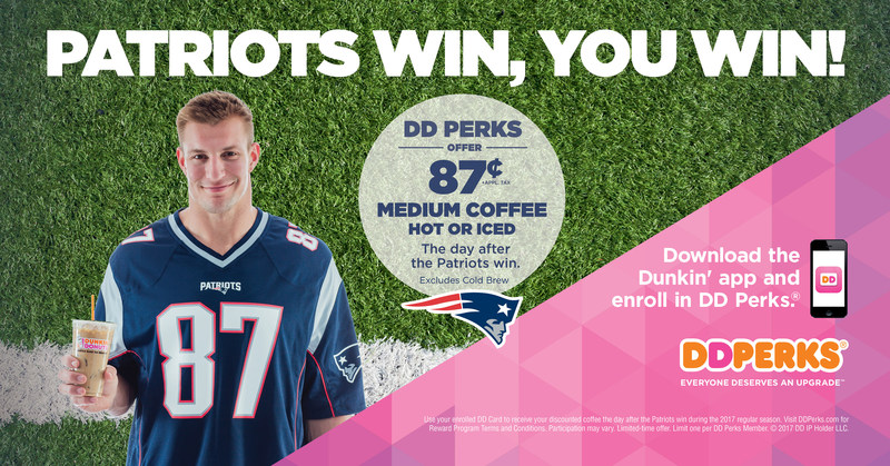 After each New England Patriots win during the regular season, Dunkin' Donuts DD Perks® Members will receive an 87 cent Medium Hot or Iced Coffee in honor of #87 Rob Gronkowski