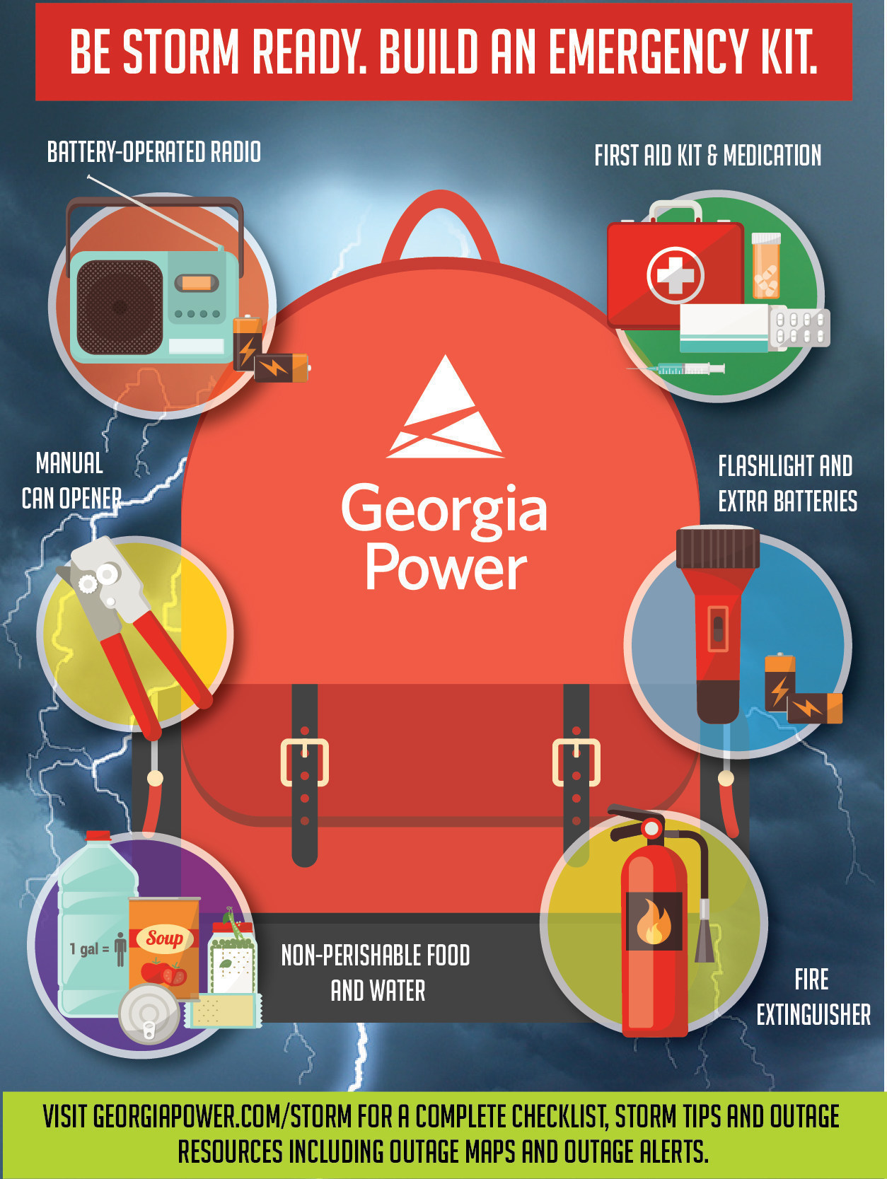 Visit GeorgiaPower.com/Storm for a complete checklist, storm tips and outage resources including Outage Maps and Outage Alerts.